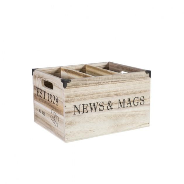На фото: Деревяний ящик Cellar (74241), Сундуки і великі кошики Home4You, каталог, ціна