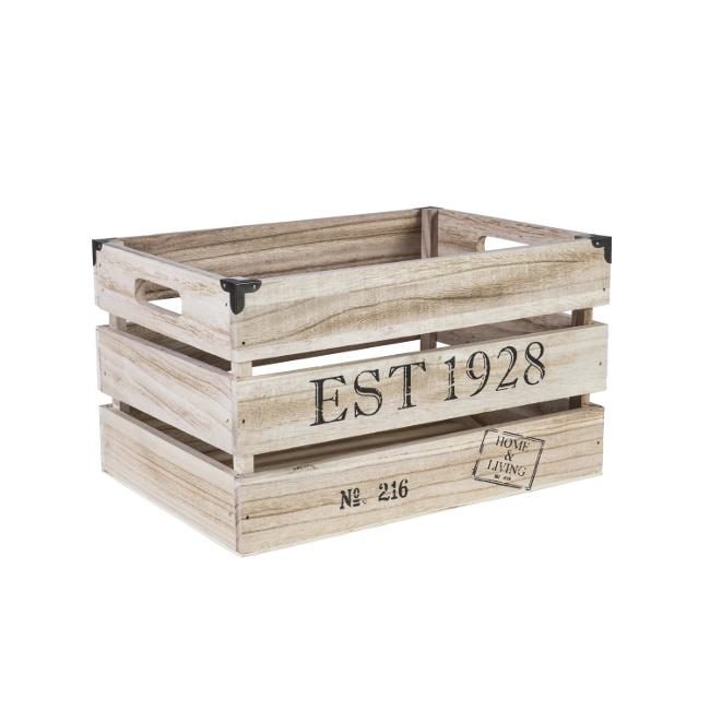 На фото: Дерев'яний ящик Cellar (74242), Сундуки і великі кошики Home4You, каталог, ціна