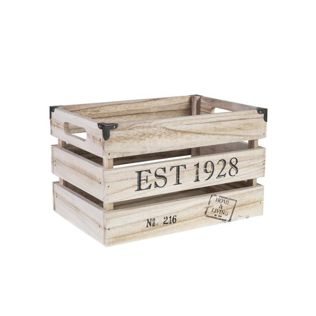 На фото: Дерев'яний ящик Cellar (74243), Сундуки і великі кошики Home4You, каталог, ціна