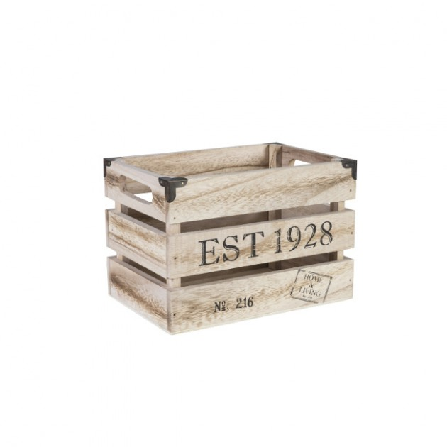 На фото: Деревяний ящик Cellar (74244), Сундуки і великі кошики Home4You, каталог, ціна