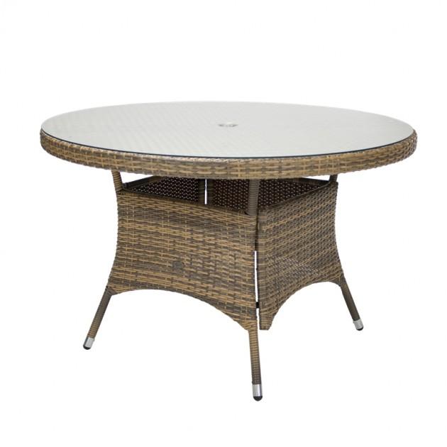 На фото: Круглий стіл Wicker Cappuccino D120 (11972), Круглі столи Garden4You, каталог, ціна