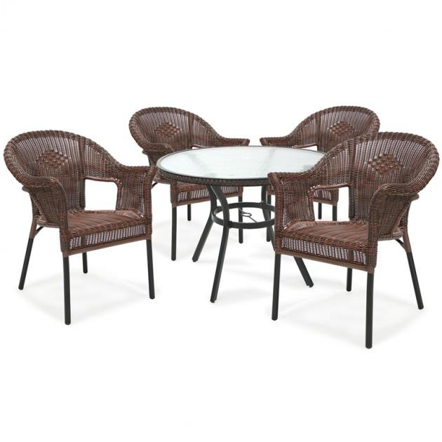 На фото: Комплект Solar (k21058), Столові комплекти зі штучного ротангу Garden4You, каталог, ціна