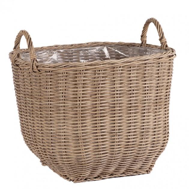На фото: Плетений кошик Wicker Beige (35169), Кашпо та горщики для квітів Garden4You, каталог, ціна