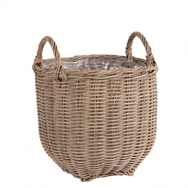 На фото: Плетений кошик Wicker Beige (35170), Кашпо та горщики для квітів Garden4You, каталог, ціна