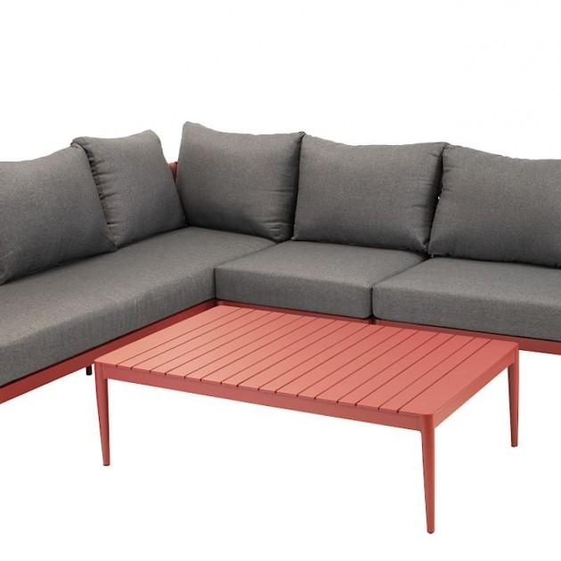 На фото: Кутовий комплект меблів Bremen Red (15408), Кутові дивани з кавовим столиком Garden4You, каталог, ціна