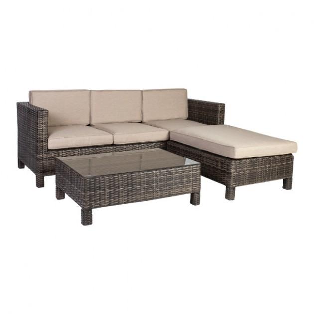 На фото: Кутовий диван Queens (12908), Дивани і комплекти зі штучного ротангу Garden4You, каталог, ціна