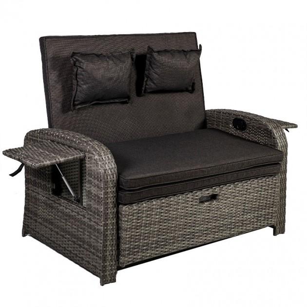 На фото: Вуличний диван-трансформер Colombo (20566), Дивани і комплекти зі штучного ротангу Garden4You, каталог, ціна