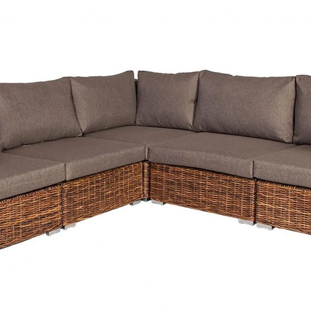 На фото: Кутовий модульний диван з ротанга Croco (k29540), Дивани з ротангу Home4You, каталог, ціна