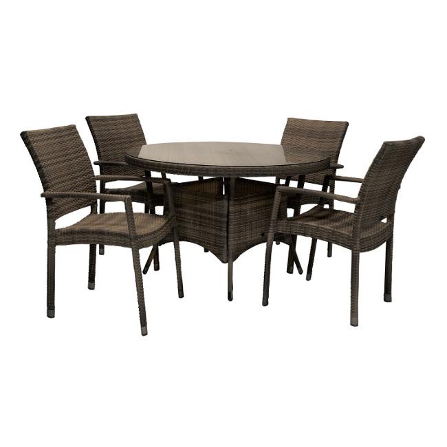 На фото: Столовий комплект Wicker (k13323), Столові комплекти зі штучного ротангу Garden4You, каталог, ціна