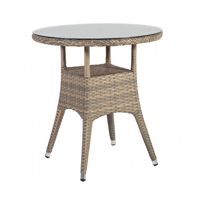На фото: Круглий стіл Larache (21200), Столи зі штучного ротангу Garden4You, каталог, ціна