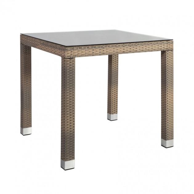 На фото: Квадратний стіл Larache (21207), Столи зі штучного ротангу Garden4You, каталог, ціна