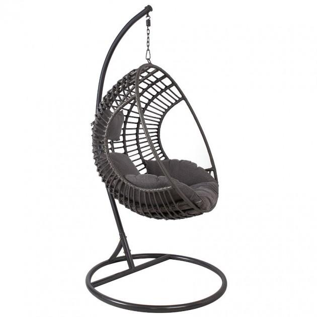 На фото: Підвісне крісло Bora Grey (28026), Крісла зі штучного ротангу Garden4You, каталог, ціна
