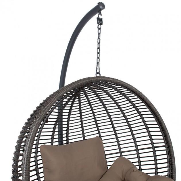 На фото: Підвісне крісло Globe Dark Brown (28064), Крісла зі штучного ротангу Garden4You, каталог, ціна