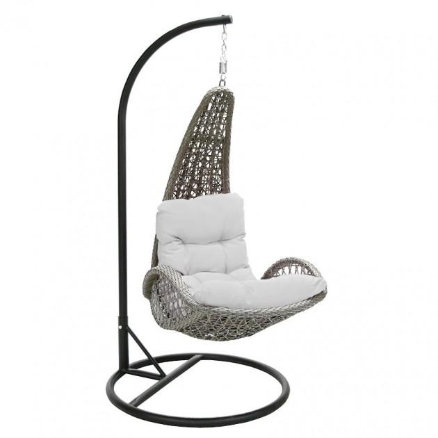 На фото: Підвісне крісло Tempio Grey (20981), Крісла зі штучного ротангу Garden4You, каталог, ціна