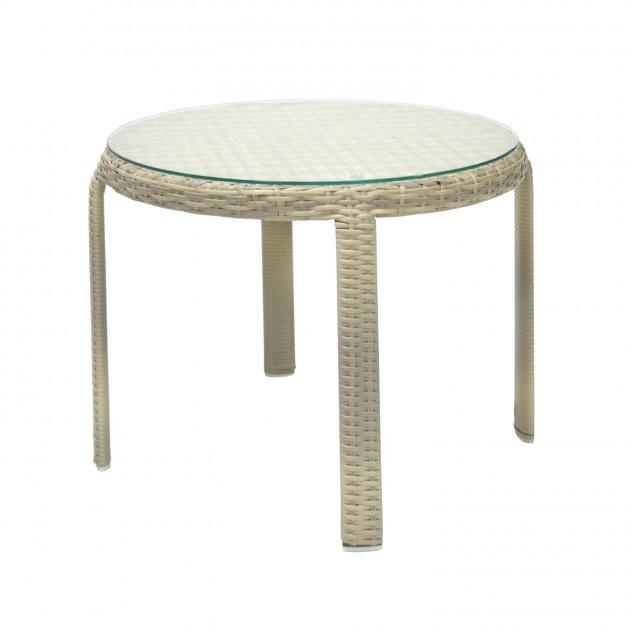 На фото: Приставний столик Wicker Beige (13373), Кавові столики Garden4You, каталог, ціна