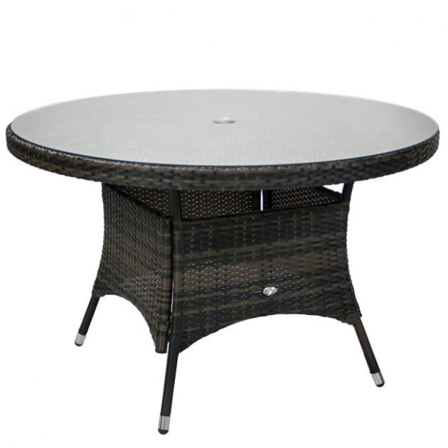 На фото: Круглий стіл Wicker Dark Brown D120 (11977), Столи зі штучного ротангу Garden4You, каталог, ціна