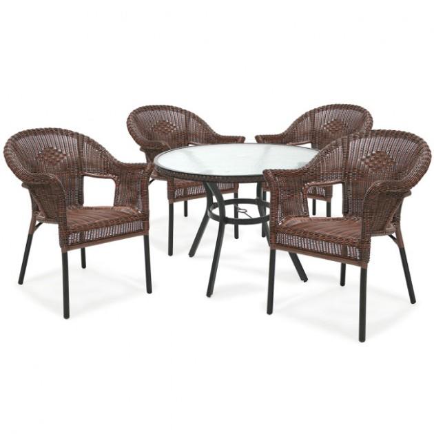 На фото: Круглий стіл Solar (21058), Столи зі штучного ротангу Garden4You, каталог, ціна