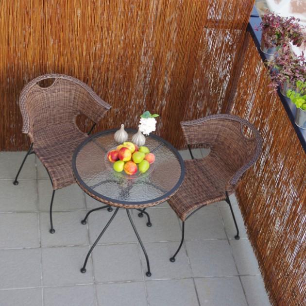 На фото: Круглий стіл Billy (27672), Столи зі штучного ротангу Garden4You, каталог, ціна