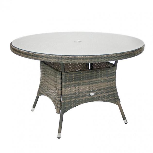 На фото: Круглий обідній стіл Geneva Grey (11868), Столи зі штучного ротангу Garden4You, каталог, ціна