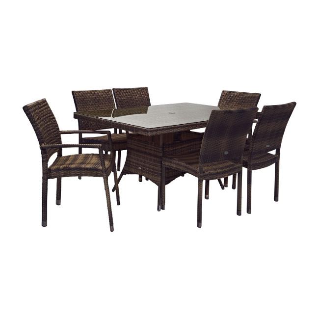 На фото: Столовий комплект Wicker (k11984), Столові комплекти зі штучного ротангу Garden4You, каталог, ціна
