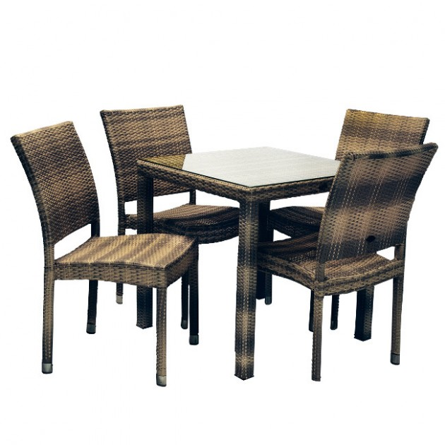На фото: Столовий комплект Wicker (k133482), Столові комплекти зі штучного ротангу Garden4You, каталог, ціна