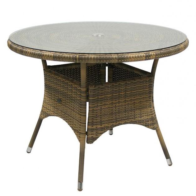 На фото: Столовий комплект Wicker Cappuccino D100 (k13322), Столові комплекти зі штучного ротангу Garden4You, каталог, ціна