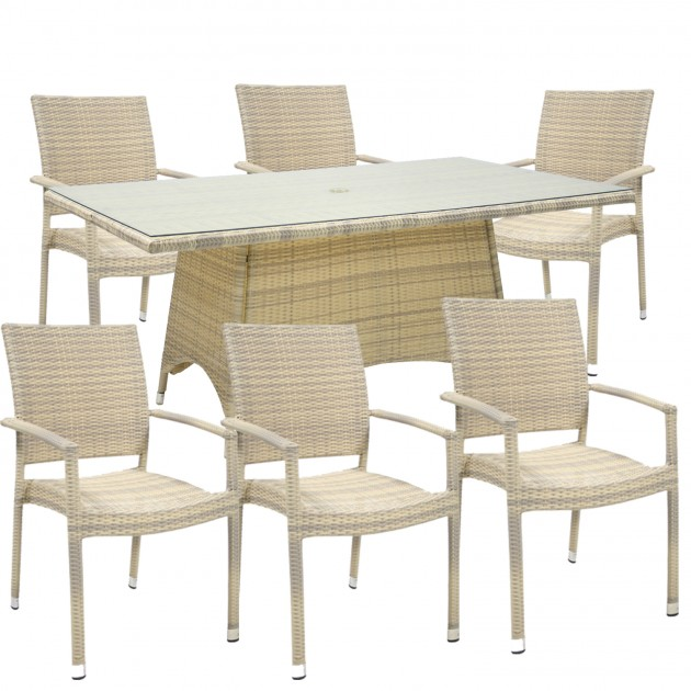 На фото: Столовий комплект Wicker (k1333), Столові комплекти зі штучного ротангу Garden4You, каталог, ціна