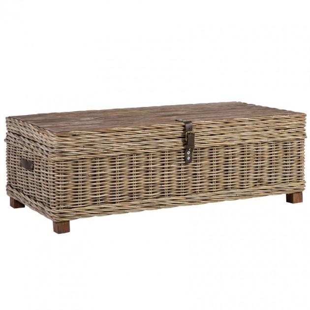 На фото: Плетений столик-скриня Egros (42021), Журнальні столики Home4You, каталог, ціна