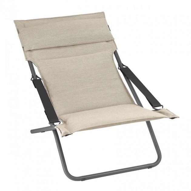 На фото: Крісло-шезлонг Bayanne Transat Hedona Latte (lfm2866-7710), Лаунж крісла Lafuma, каталог, ціна