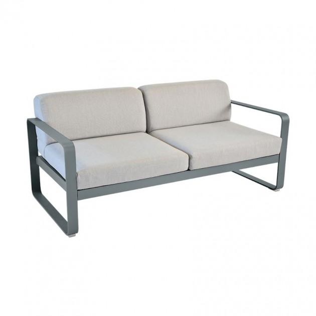 На фото: Диван Bellevie Storm Grey (84452679), Двомісний диван Bellevie з подушками Flannel Grey Fermob, каталог, ціна