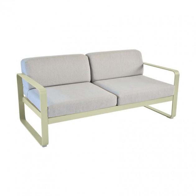 На фото: Диван Bellevie Willow Green (84456579), Двомісний диван Bellevie з подушками Flannel Grey Fermob, каталог, ціна