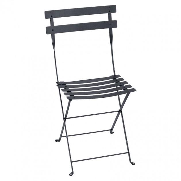 На фото: Cкладаний стілець Bistro Anthracite (010147), Стілець Bistro Metal Fermob, каталог, ціна