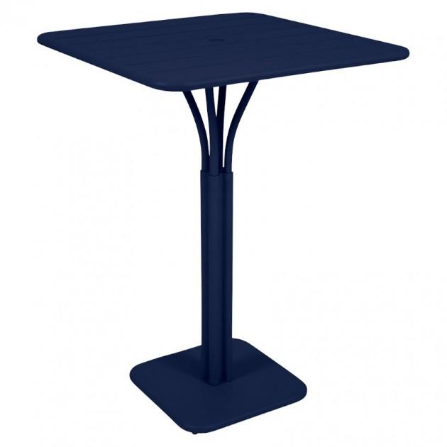 На фото: Барний стіл Luxembourg 4140 Deep Blue (414092), Барний стіл на центральній опорі Luxembourg Fermob, каталог, ціна
