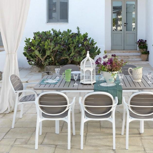 На фото: Розкладний стіл Alloro 140 Bianco (42753.00.000), Пластикові столи Nardi, каталог, ціна