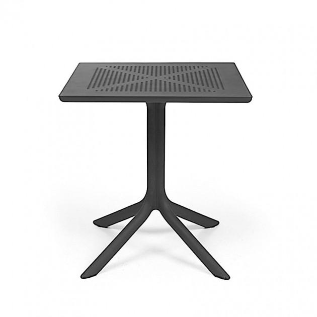 На фото: Квадратний стіл Clip 70 Antracite (40084.02.000), Пластикові столи Nardi, каталог, ціна