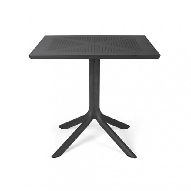 На фото: Квадратний стіл Clip 80 Antracite (40082.02.000), Пластикові столи Nardi, каталог, ціна