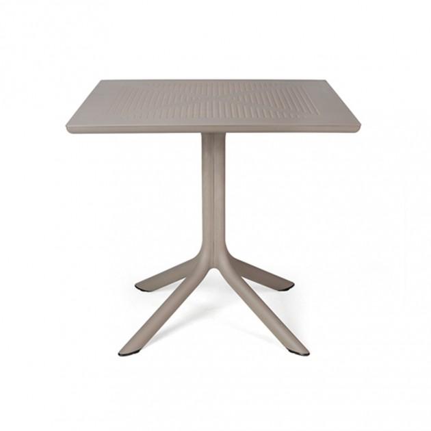 На фото: Квадратний стіл Clip 80 Tortora (40082.10.000), Пластикові столи Nardi, каталог, ціна