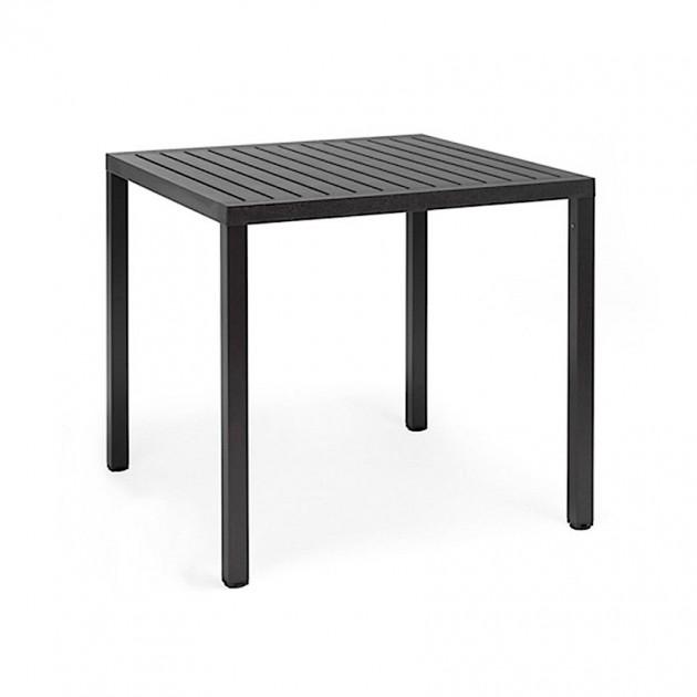 На фото: Квадратний стіл Cube 80 Antracite (48052.02.000), Пластикові столи Nardi, каталог, ціна