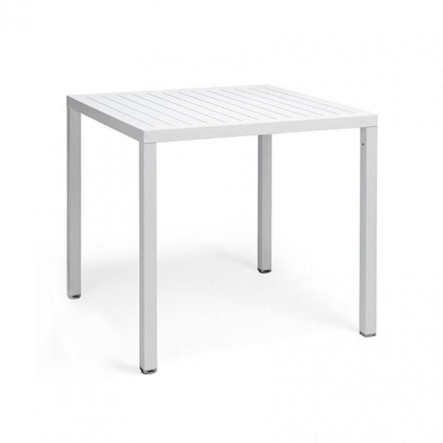 На фото: Квадратний стіл Cube 80 Bianco (48053.00.000), Пластикові столи Nardi, каталог, ціна