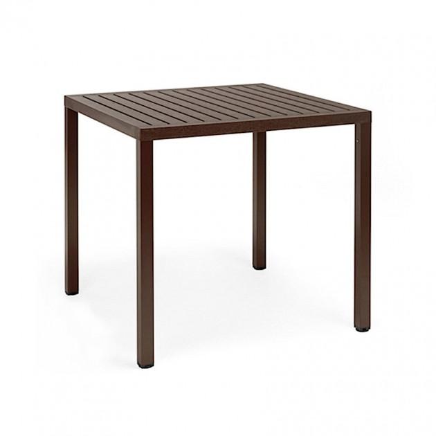 На фото: Квадратний стіл Cube 80 Caffe (48057.05.000), Пластикові столи Nardi, каталог, ціна