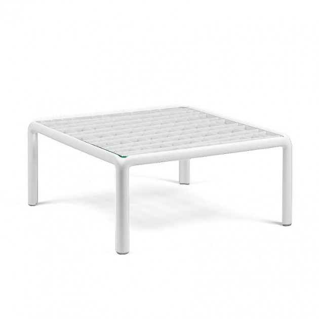 На фото: Столик Komodo Tavolino Vetro Bianco (40368.00.501), Пластикові столи Nardi, каталог, ціна