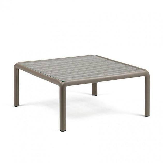 На фото: Столик Komodo Tavolino Vetro Tortora (40368.10.501), Пластикові столи Nardi, каталог, ціна