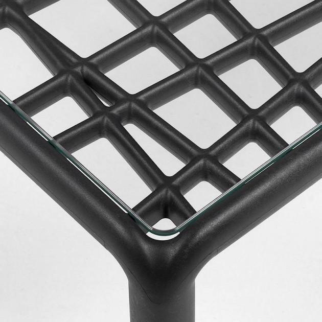 На фото: Столик Komodo Tavolino Vetro Antracite (40368.02.501), Пластикові столи Nardi, каталог, ціна