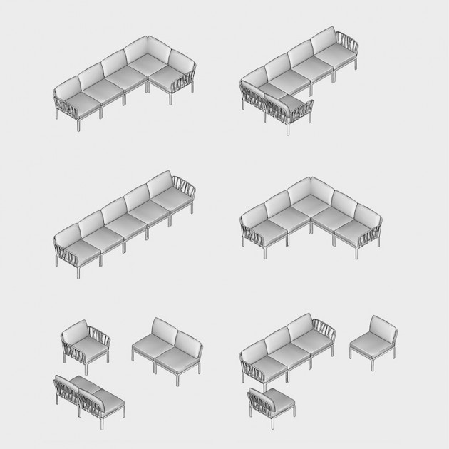 На фото: Модульний диван Komodo 5 Agave Canvas Sunbrella® laminato (40370.16.170), Модульний диван Komodo 5 Nardi, каталог, ціна