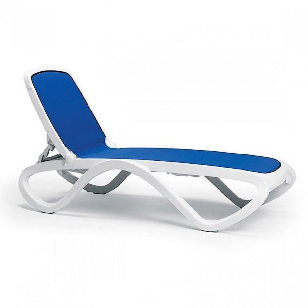 На фото: Шезлонг Omega Bianco Blue (40417.00.112), Шезлонги з текстилену Nardi, каталог, ціна