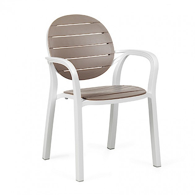 На фото: Крісло Palma Bianco Tortora (40237.00.010), Пластикові стільці Nardi, каталог, ціна