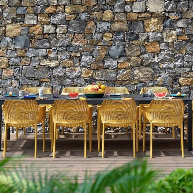 На фото: Обідній стіл Rio Alu 210 Tortora (48859.10.000), Пластикові столи Nardi, каталог, ціна