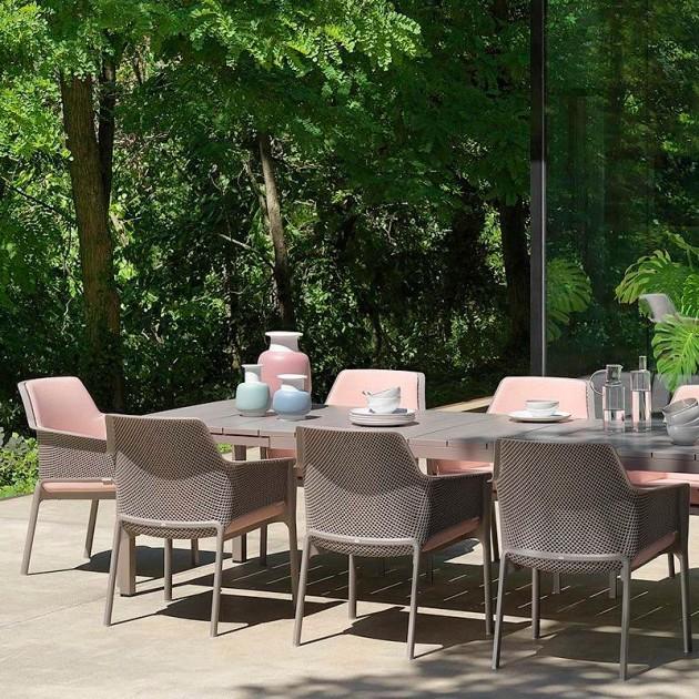 На фото: Великий розкладний стіл Rio 210 Tortora (48259.10.000), Пластикові столи Nardi, каталог, ціна
