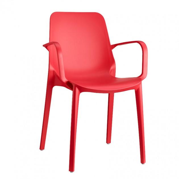 На фото: Крісло Ginevra 2333 Rosso Geranio (233342), Пластикові крісла S•CAB, каталог, ціна