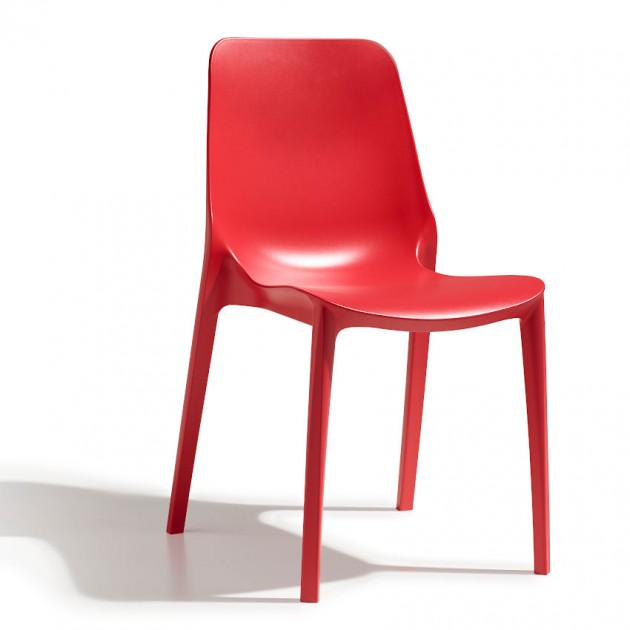 На фото: Стілець Ginevra 2334 Rosso Geranio (233442), Пластикові стільці S•CAB, каталог, ціна